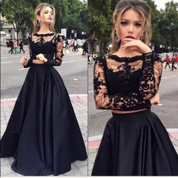131b1ab902532 Black Lace Crop Top + High Waist Maxi Skirt
